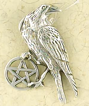 Sterling Silver Pentacle of The Raven Pendant