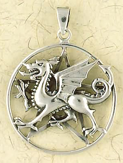 Sterling Silver Pentacle of the Dragon Pendant