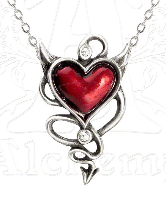 Alchemy Gothic Rockabilly Devil Heart Pendant