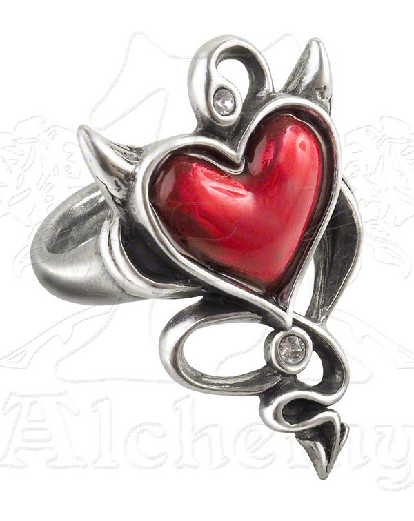 Alchemy Gothic Rockabilly Devil Heart Ring