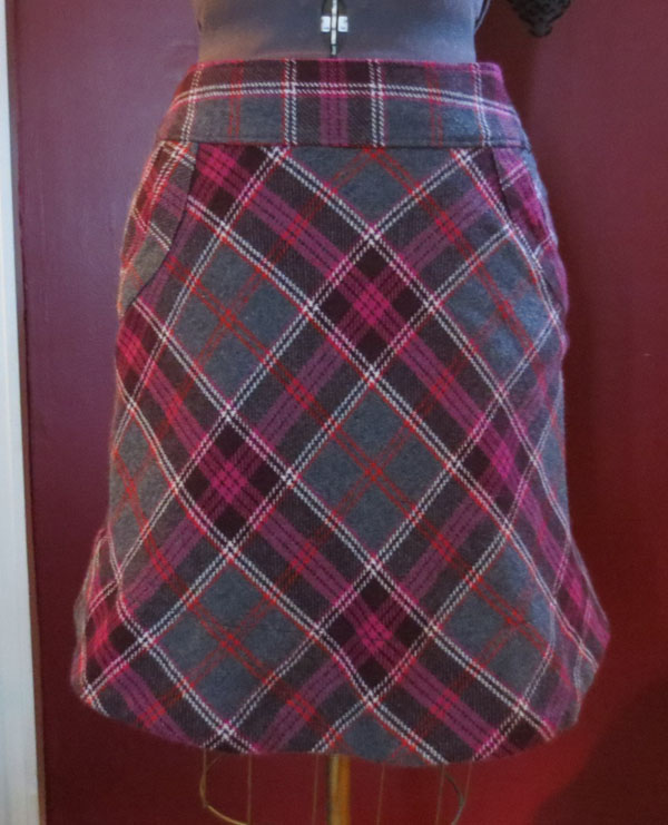 Vintage Rockabilly Pink Gray ALine Wool Blend Mini Skirt