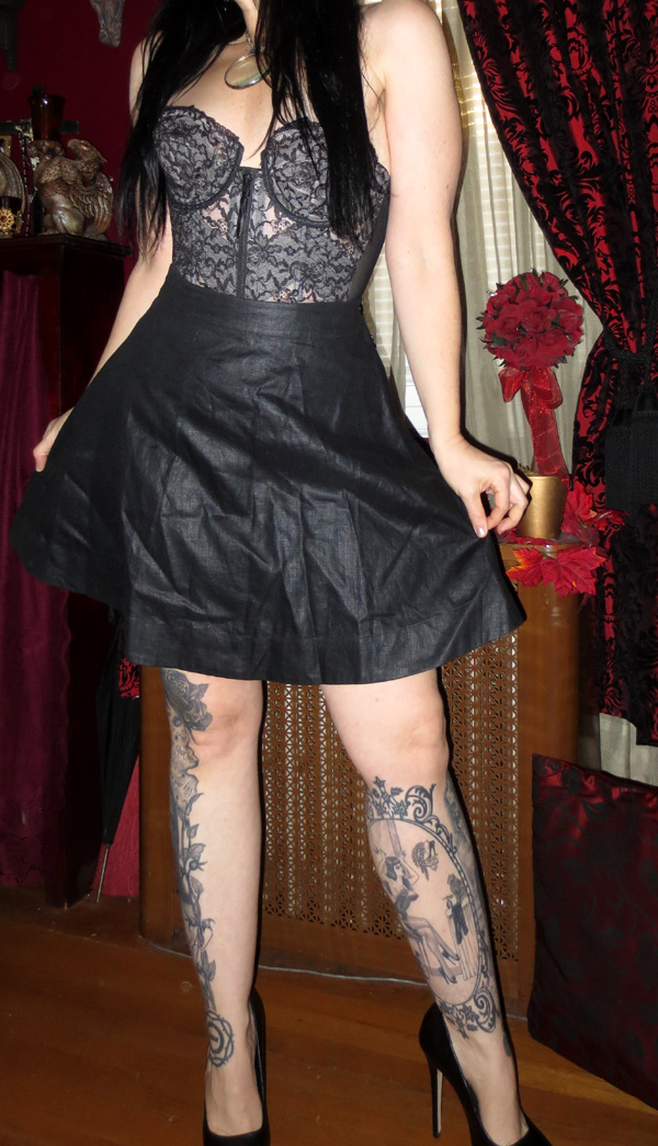 Pin Up Rockabilly Flirty Black Swing Skirt Small