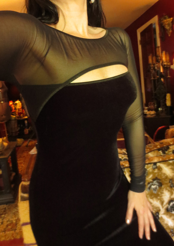 Vintage Black Velvet Sheer Sleeves Sexy Vampira Gown S