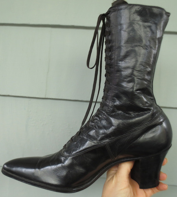 Antique Ladies Black Leather Victorian Boots MINT
