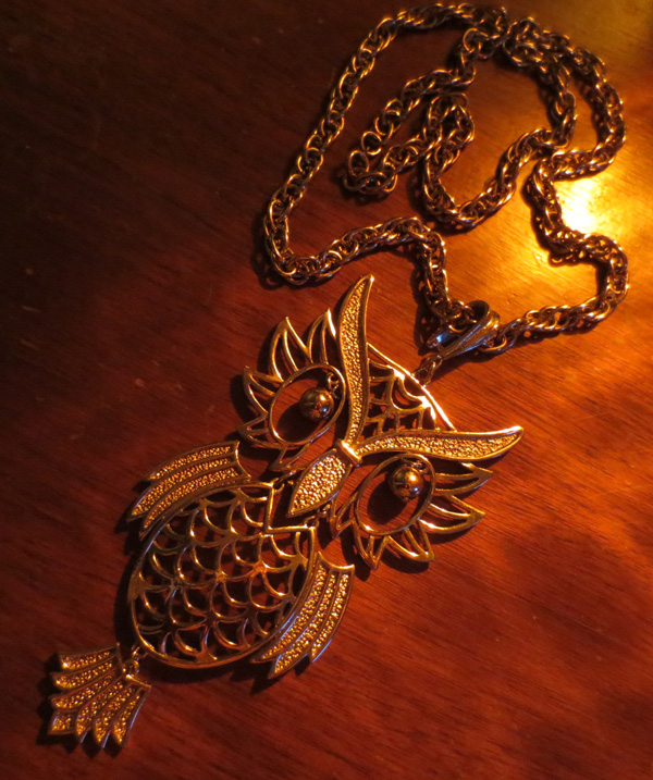 Vintage Huge Silver Great Horned Owl Necklace Pendant