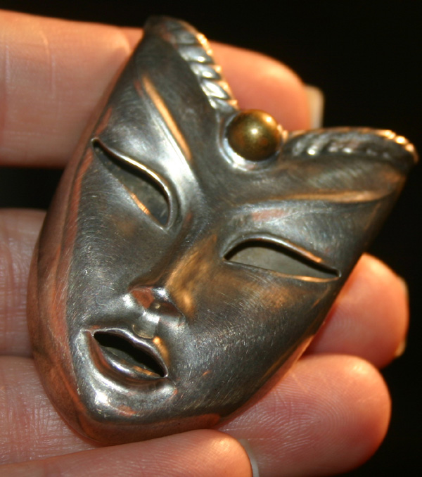 Vintage Mexico Sterling Silver Asian Mask Pendant Pin