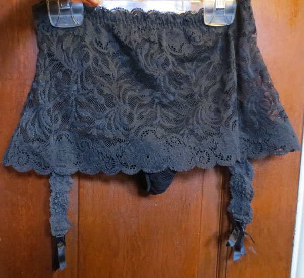 Vintage Black Lace Garter Belt Skirt Thong Panties S/M