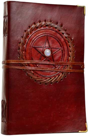 Pentagram Stone Leather Book of Shadows Journal