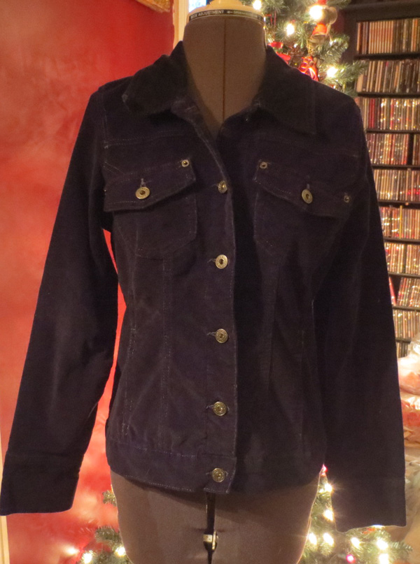 Vintage Ladies Black Corduroy Button up Shirt Jacket Sm