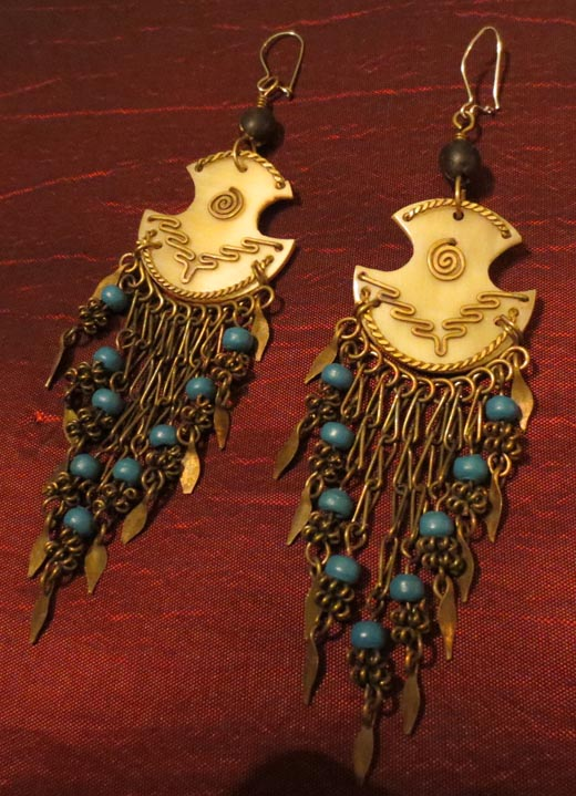 Vintage Handmade Bone Shell Carved Long Beaded Earrings