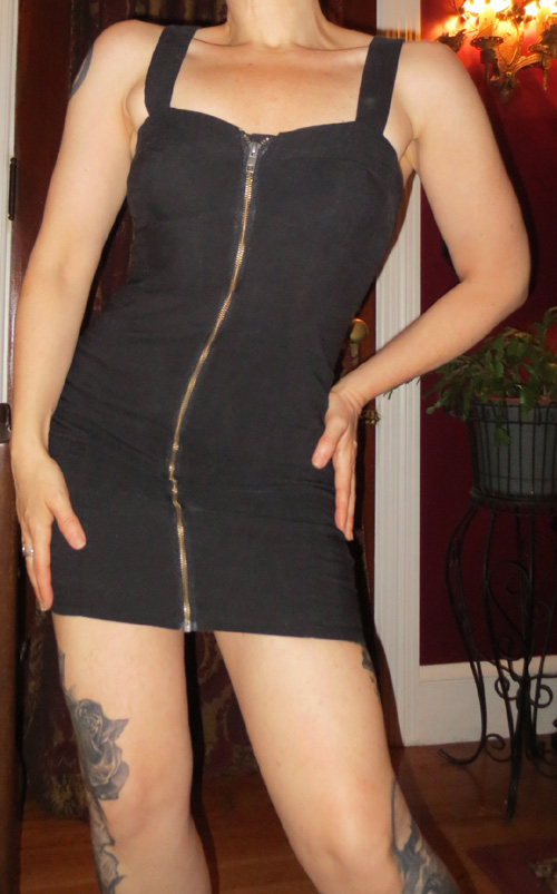 Vintage Body Con Black Zip Front Clubbing Dress Small