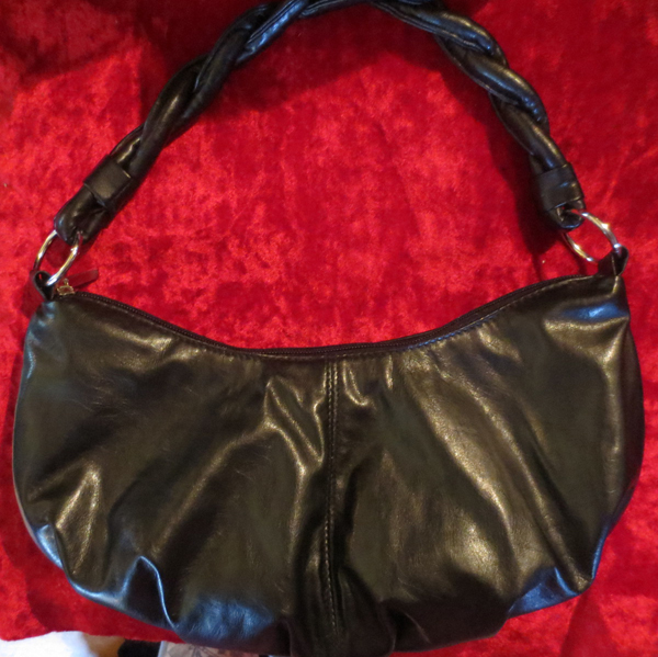 Black Medium Size Leather Look Handbag Twisted Handle
