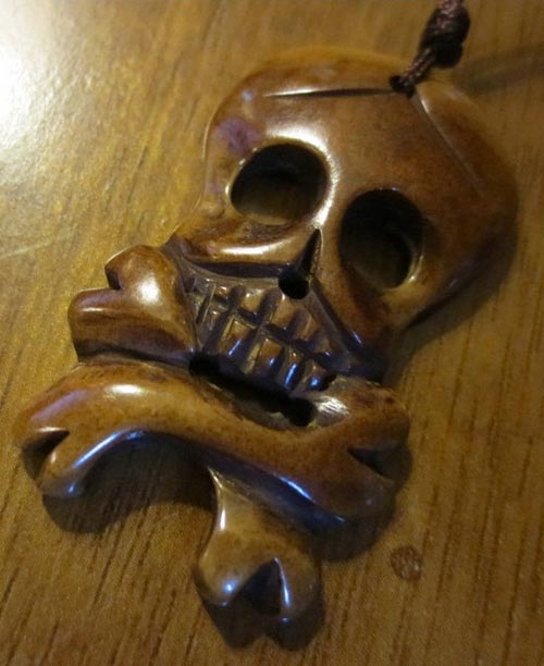 Steampunk Bone Pirate Skull Crossbones Pendant