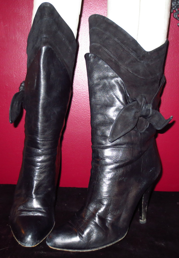 Vintage Ladies Black Leather Suede High Heel Boots 6.5