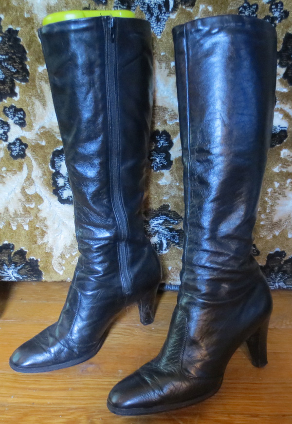 Vintage Knee High Black Leather High Heel GO GO Boots 7