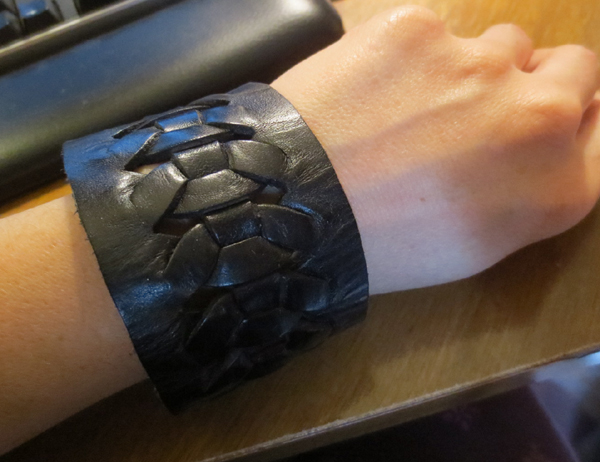 Black Genuine Leather Braided Cuff Bracelet