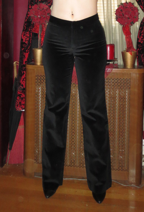Vintage Ladies Gothic Black Velvet Dress Pants Small