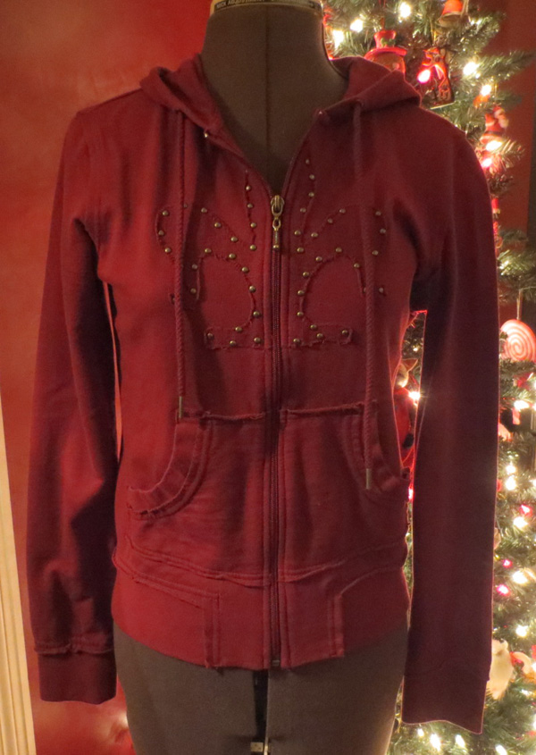 Ladies Burgundy Studded Fleur De Lis Zip Front Hoodie Top