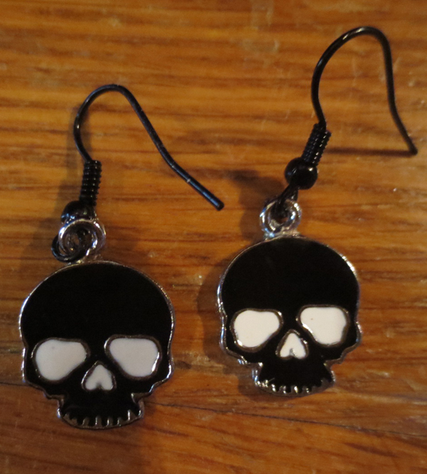 Rockabilly Goth Black and White Skull Earrings