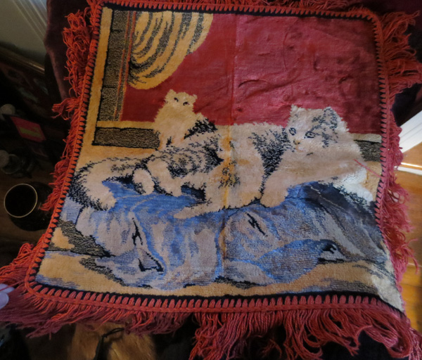 Vintage Mother Cat and Kittens Velvet Tapestry