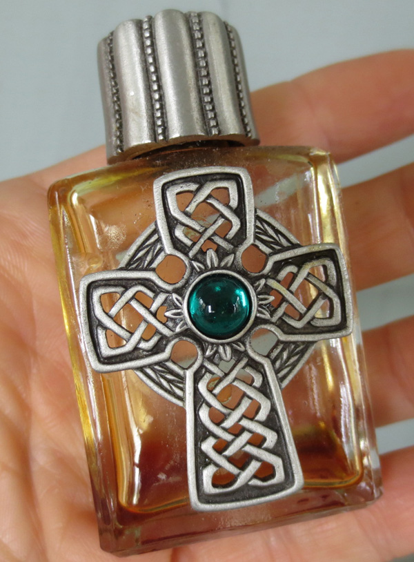 Vintage Pewter Glass Perfume Oil Bottle Celtic Cross