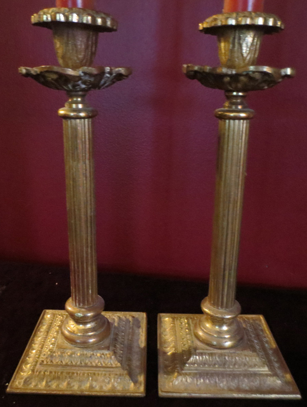 Vintage Pair Gothic Solid Brass Column Candle Holders