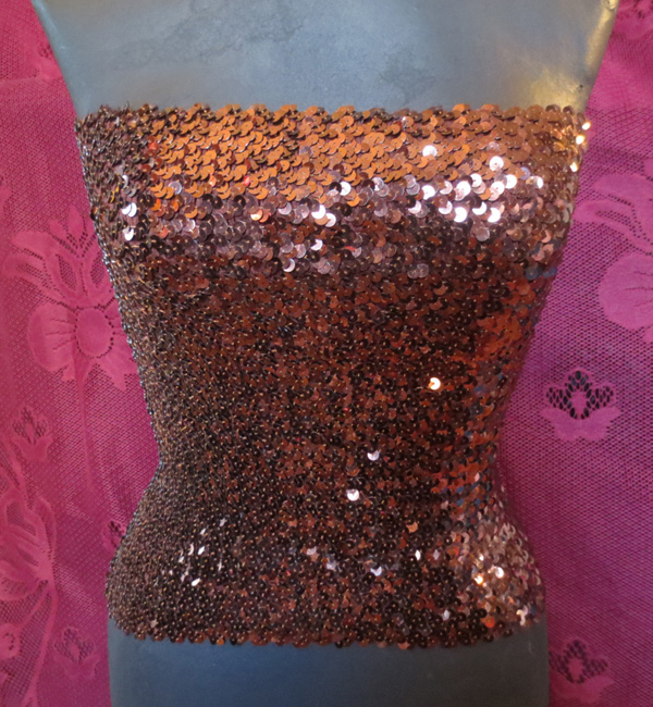 Vintage Copper Sequin Tube Top Disco Belly Dancer