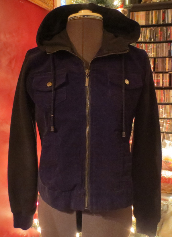 Vintage Ladies Black Corduroy Hooded Jacket Small