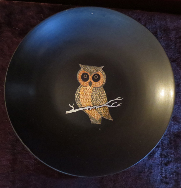 Vintage 1960s Couroc Owl Barware Bowl Plate