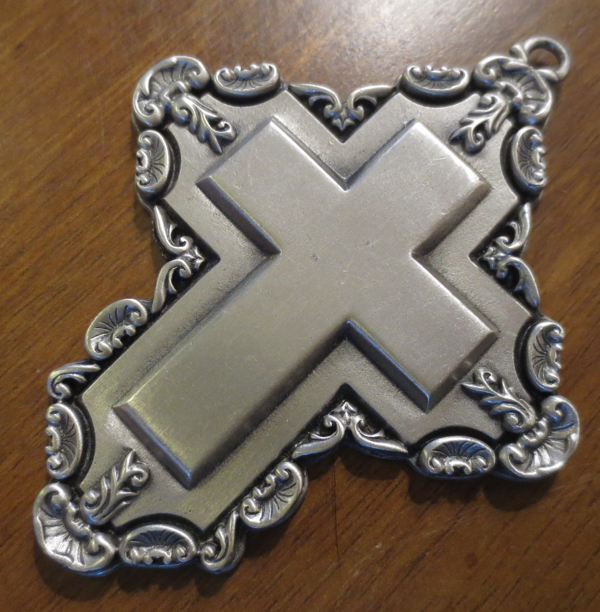 Vintage 1993 Solid Pewter Cross Christmas Ornament