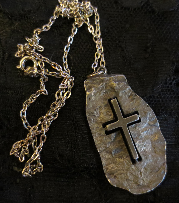 Vintage Sterling Silver Cross Cut from Stone Pendant