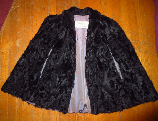 Vintage Black Persian Fur Lambswool Capelet Shawl Stole