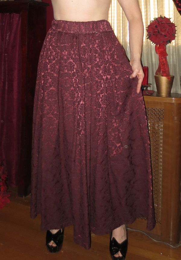 Vintage Burgundy Damask Long Full Renaissance Skirt