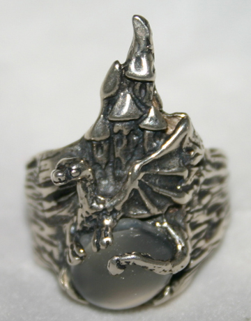 Sterling Silver Wizard's Castle Dragon Gemstone Ring