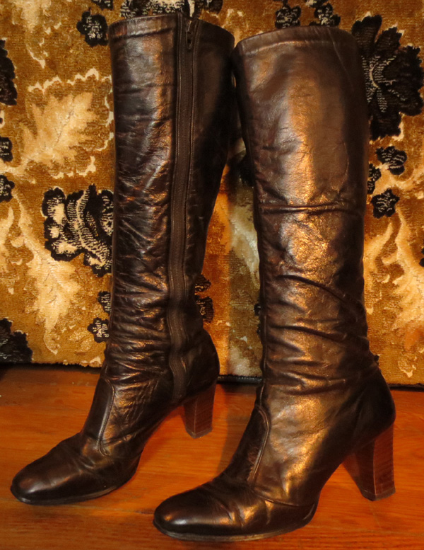 Vintage Knee High Black Leather High Heel Go Go Boots 7.5