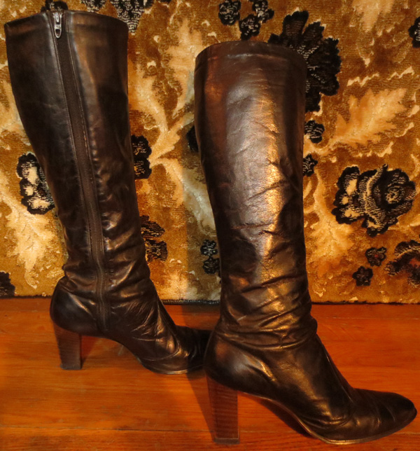 Vintage Knee High Black Leather High Heel Go Go Boots 7 5