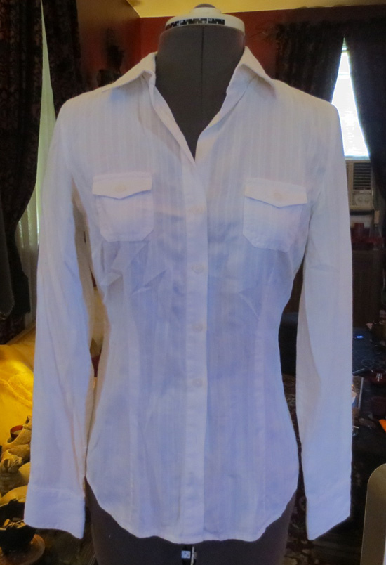 Vintage Ladies White Striped Fitted Button Up Top XS