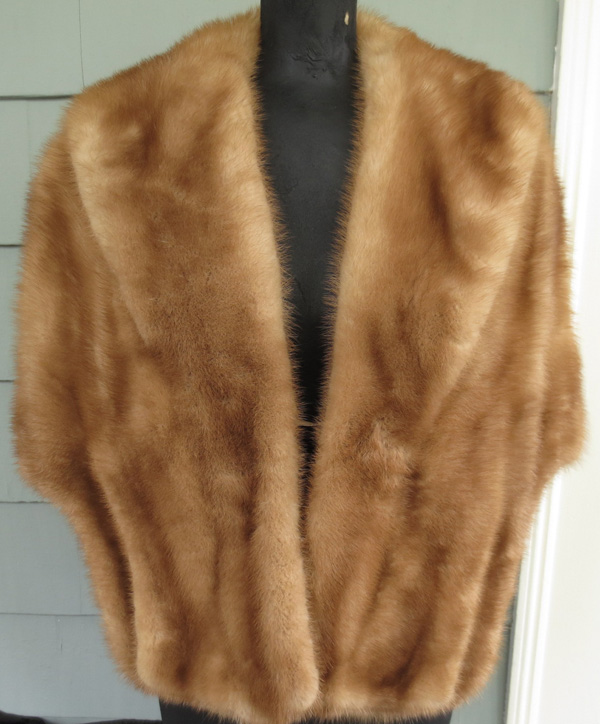Vintage 1940s Golden Brown Mink Fur Stole Wrap