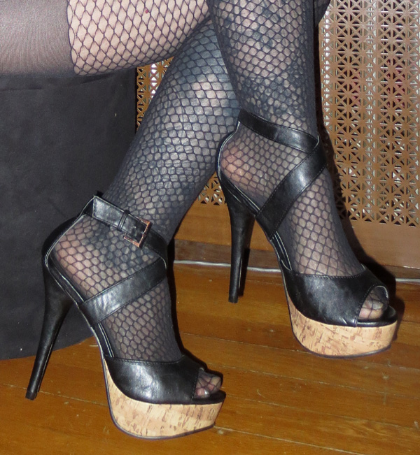 Black Leather Peep Toe Strappy 5 Inch High Heels 6 1/2