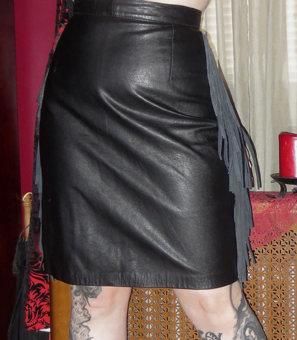 Vintage Black Leather Skirt with Fringe Trim Small