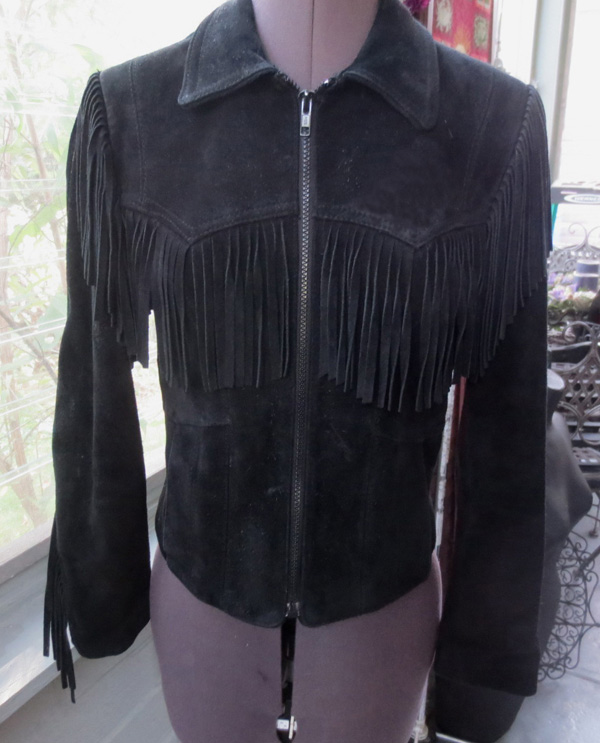 Vintage Wilsons Cropped Suede Leather Fringe Jacket Small