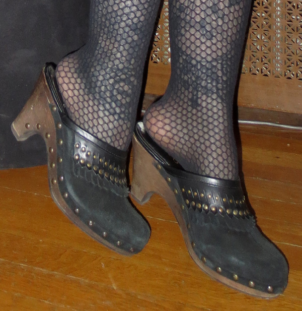 Vintage Black Suede Leather Studded Wood Clogs Heels 6.5