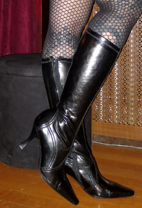 Witchy Victorian Franco Sarto Patent Black Knee Boots