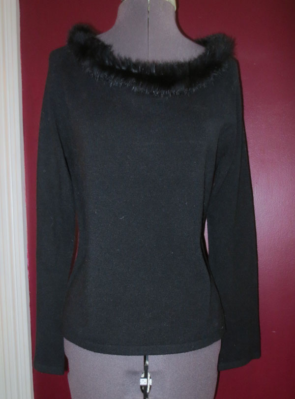 Vintage Pin Up Black Rabbit Fur Collar Top Blouse
