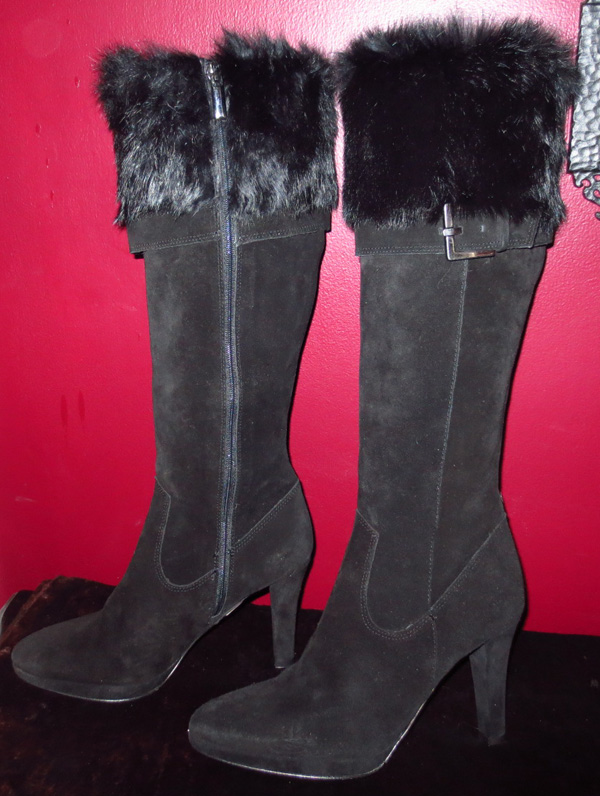Ladies Knee High Black Suede Leather Fur Trim Boots 7
