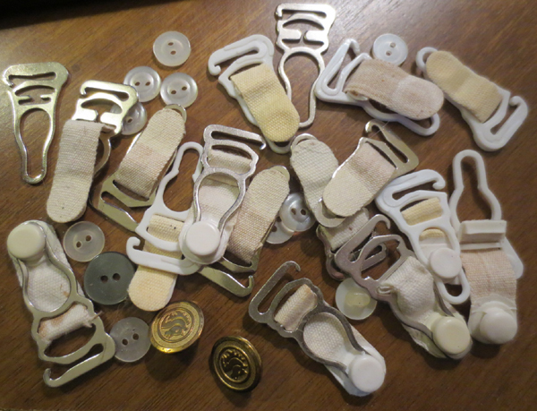 Vintage Lot of 1950s Garter Belt Straps Hooks Buttons