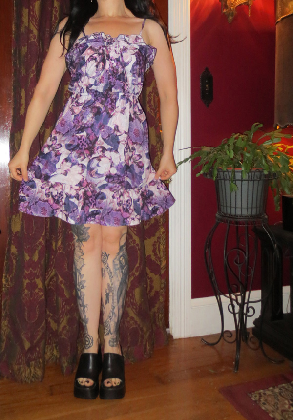 Vintage Sleeveless Purple Floral Cotton Summer Dress S