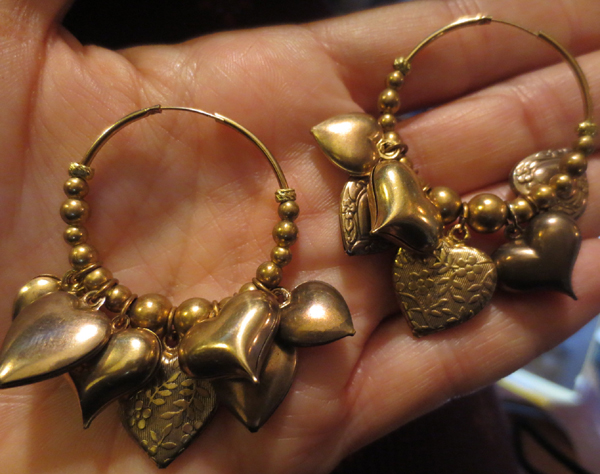 Vintage Goldtone Heart Charms Hoop Earrings
