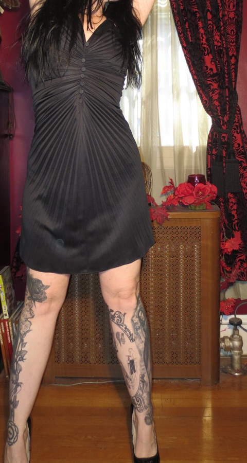 Vintage 1970s Black Accordian Pleated Sexy Disco Dress