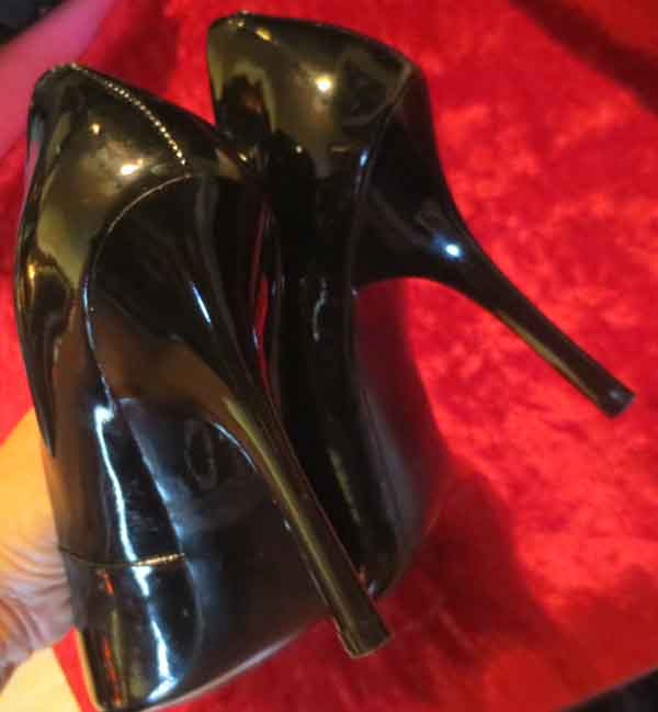 Vintage Fetish Black Patent Leather Stiletto High Heels 5